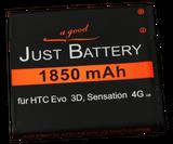 1850 mAh original JuBaTec Akku für HTC Evo 3D / Sensation 4G u.a.